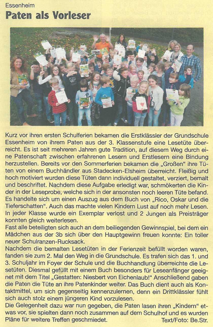 2014.10.23. Nachrichtenblatt der VG Lesetütenübergabe GS Essenheim